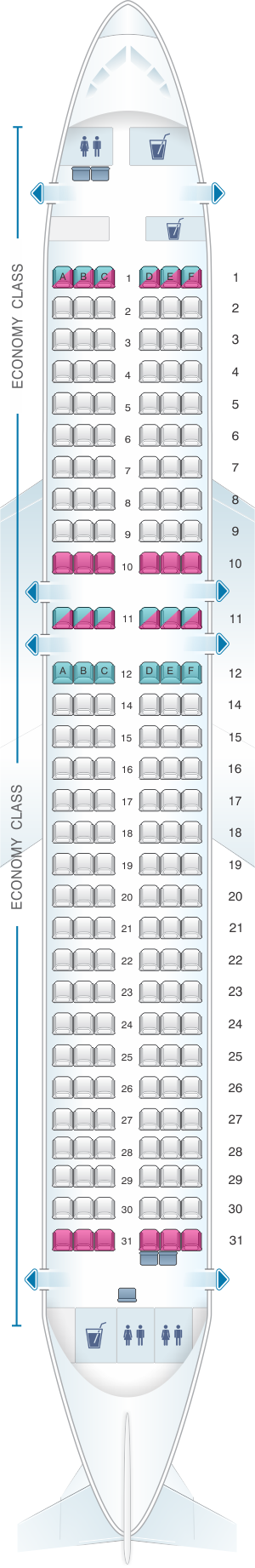Seat map for Vueling A320 Neo