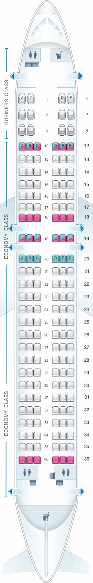 Seat map for Air Canada Airbus A320 200 Rouge