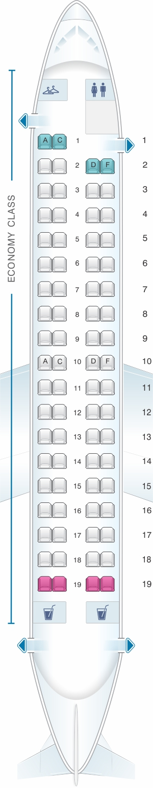 Seat map for Air Canada Bombardier Q400 config.2