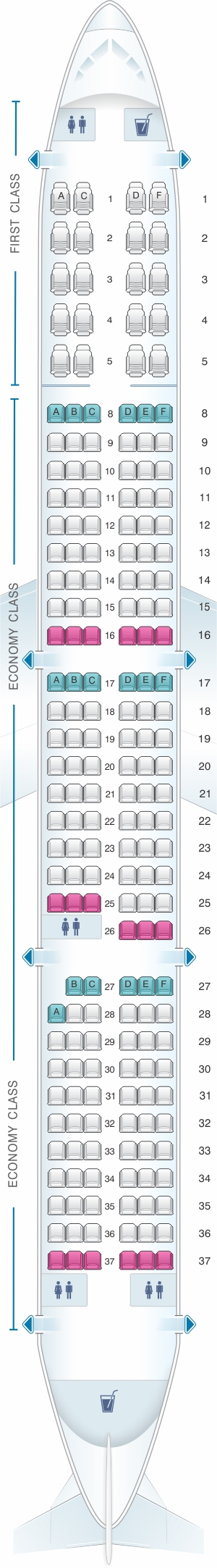 Seat map for American Airlines Airbus A320 neo