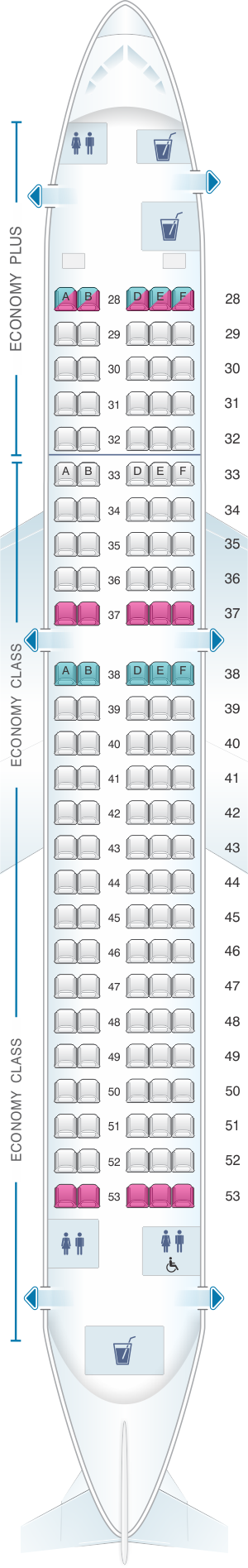 Seat map for Korean Air Airbus A220 300 v2