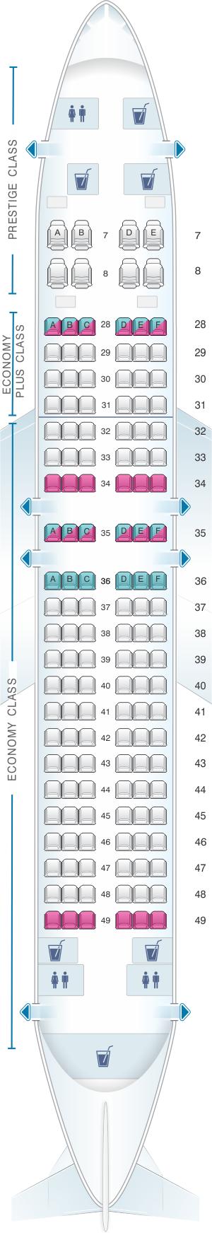Seat map for Korean Air Boeing 737 MAX8