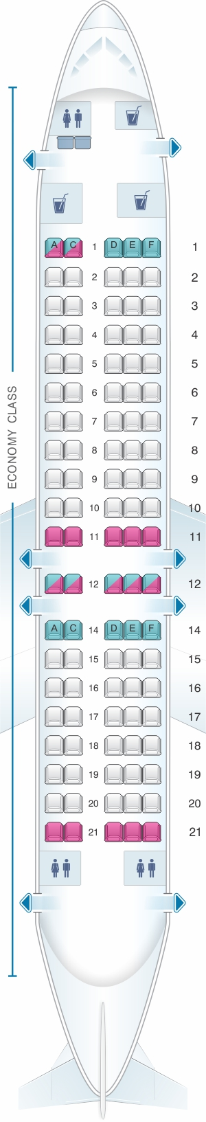Seat map for QantasLink Fokker 100