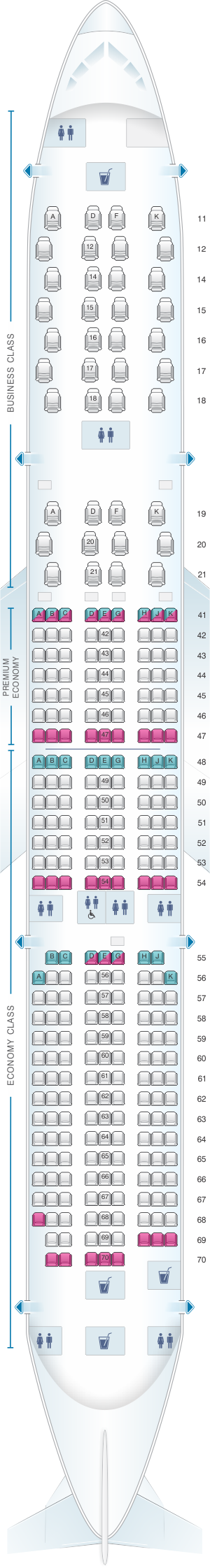Seat map for Singapore Airlines Airbus A350 900 config.2