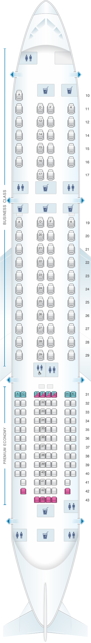 Seat map for Singapore Airlines Airbus A350 900 config.3
