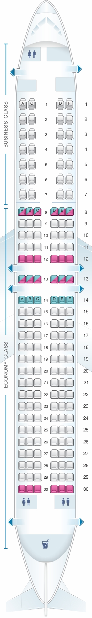 Seat map for SpiceJet Boeing B737 900 config.2