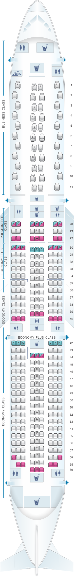 Seat map for United Airlines Boeing B787 10