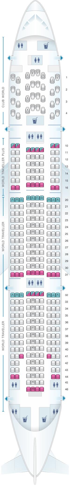 Seat map for British Airways Boeing B777 200 LGW layout