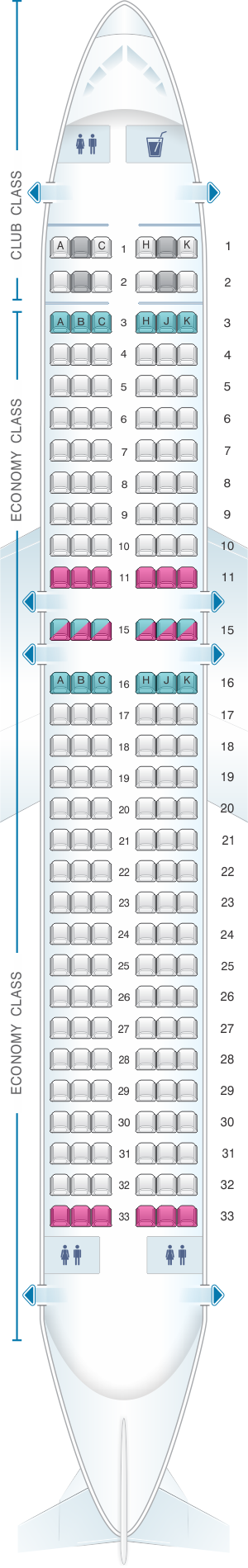 Seat map for Air Transat Airbus A320 200 Canada