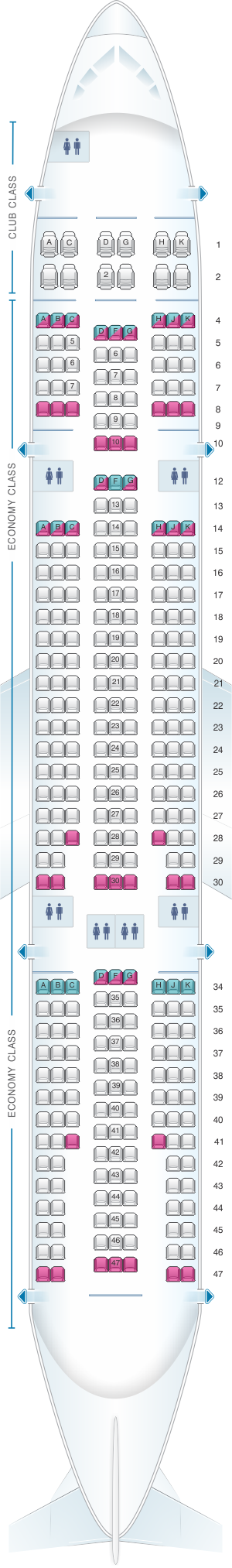 Seat map for Air Transat Airbus A330 200 low density