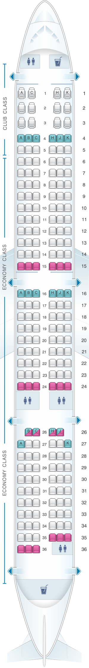 Seat map for Air Transat Airbus A321 Neo LR