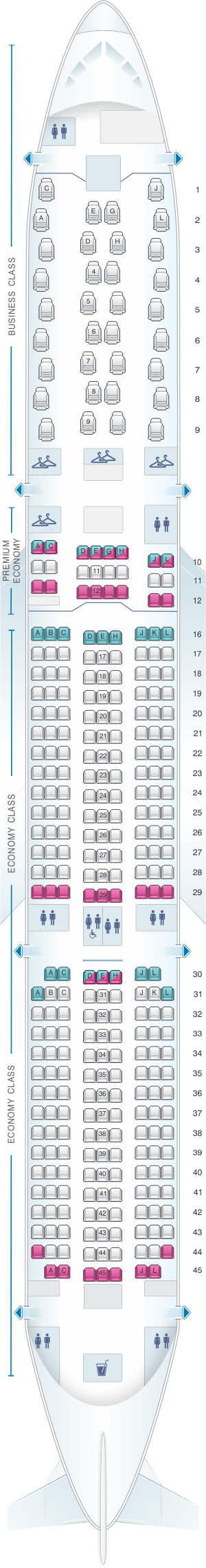 Seat map for Air France Airbus A350 900