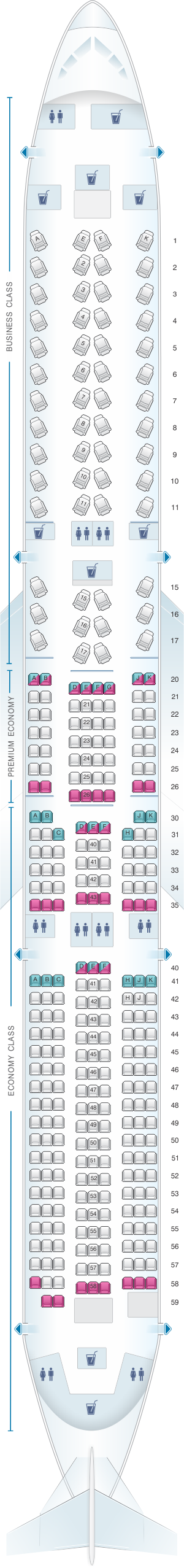 Seat map for British Airways Airbus A350 1000