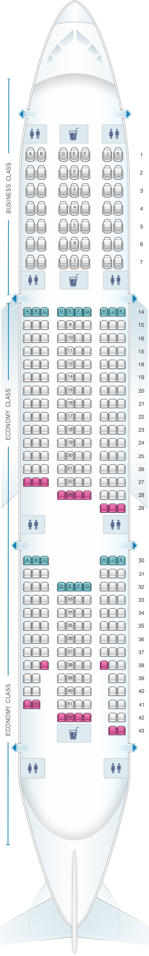 Seat map for Emirates Boeing B777 200LR v2