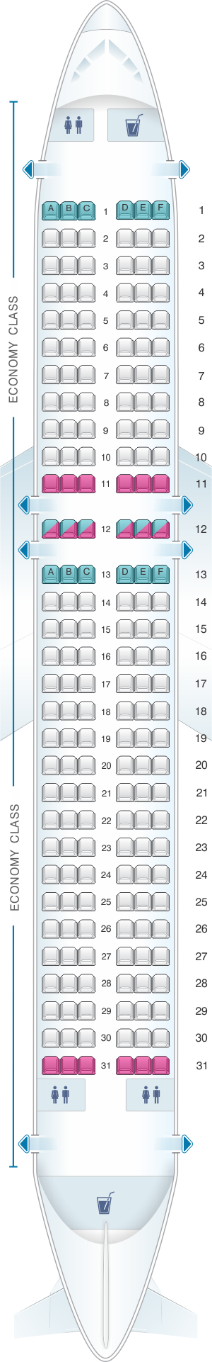 Seat map for Wizz Air Airbus A320B