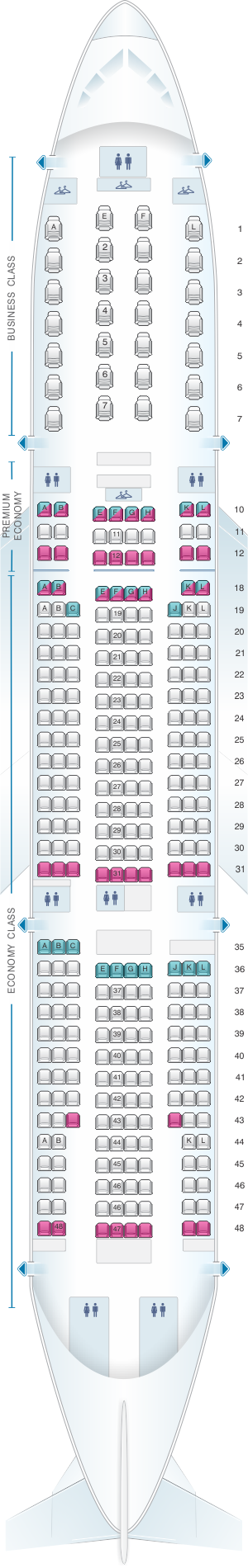 Seat map for Air France Boeing B777 200 International Long-Haul 312PAX