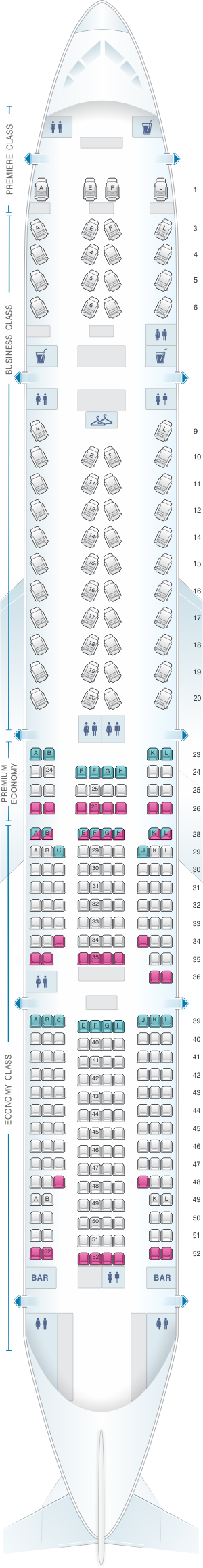 Seat map for Air France Boeing B777 300 International Long-Haul 296pax